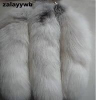 Zalzyywb 100% Natuurlijke Super grote Vos Staart 40-45 cm Echt Vos Staart Sleutelhanger Bont Tag Charm Auto Sleutelhanger gratis Verzending