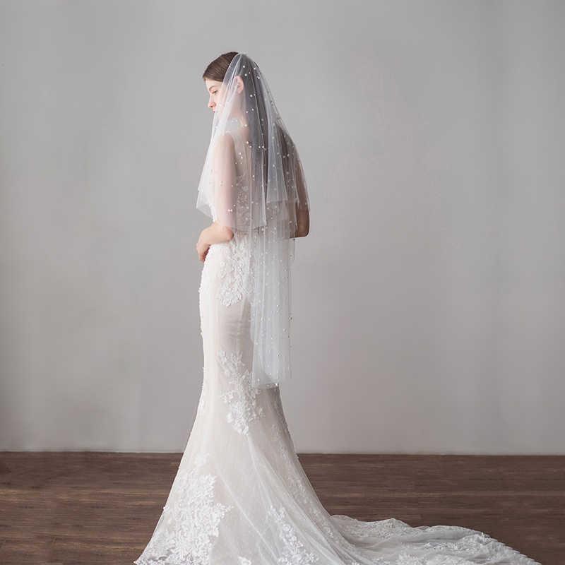 SLBRIDAL Twee Layer Bruiloft Sluiers Met Kammen Ivoor Parels Bridal Veils Bruiloft Accessoires Voor Bruid Mariage Vrouwen