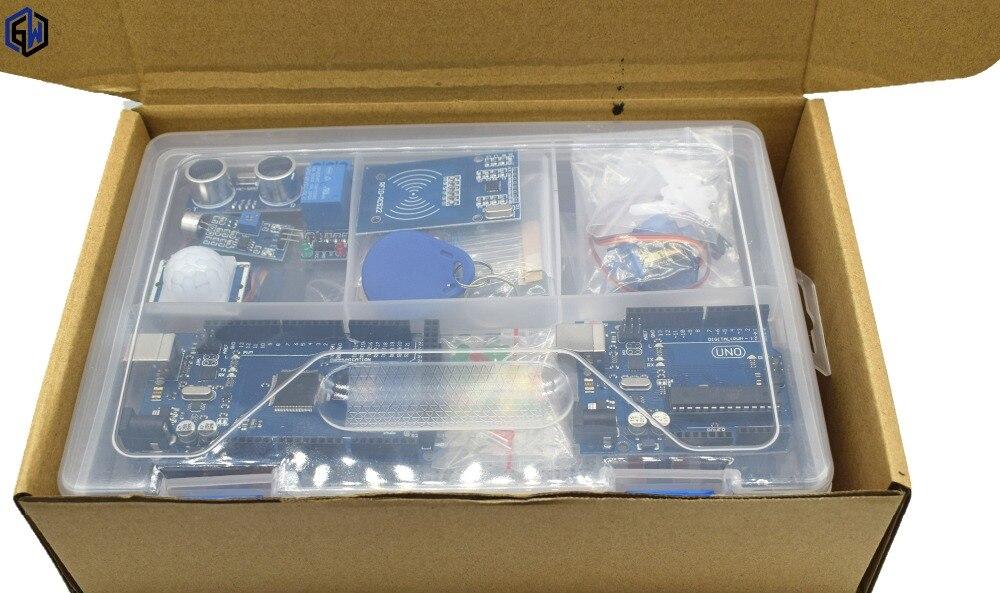 Kit de démarrage pour arduino UNO r3 avec câble MEGA 2560/Lcd1602 I2C/Hc-sr04/HC-SR501/RC522/Dupont dans une boîte en plastique