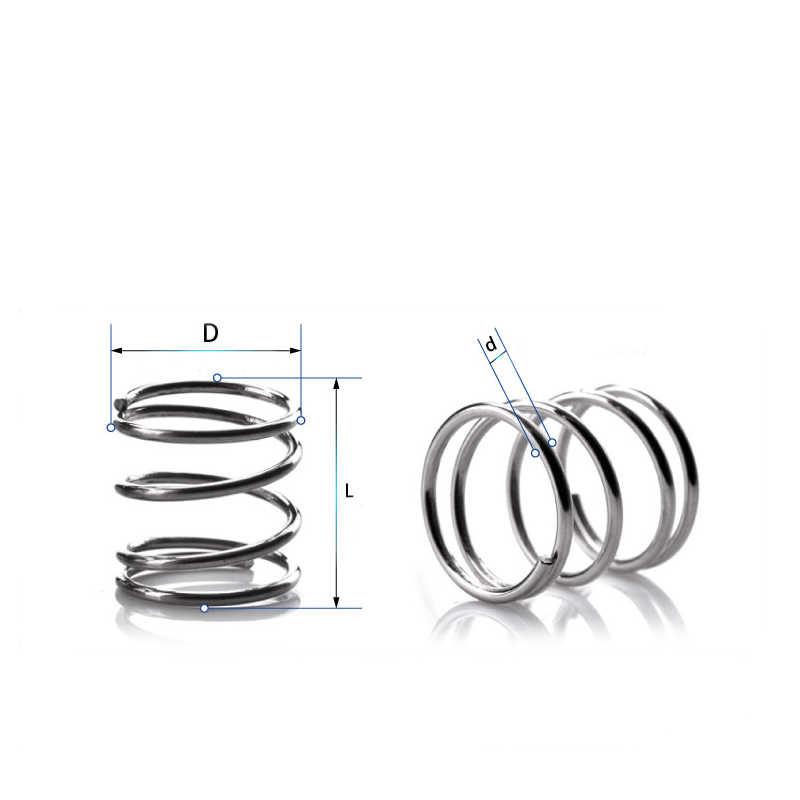 10 pces 304 de aço inoxidável mola de pressão de mola de compressão curto diâmetro do fio 0.9 * diâmetro exterior 25 * comprimento 10-50
