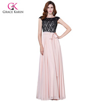 Grace Karin Long Evening Dress Black Lace Pink Formal Evening Party Prom Gowns Elegant Mother Of