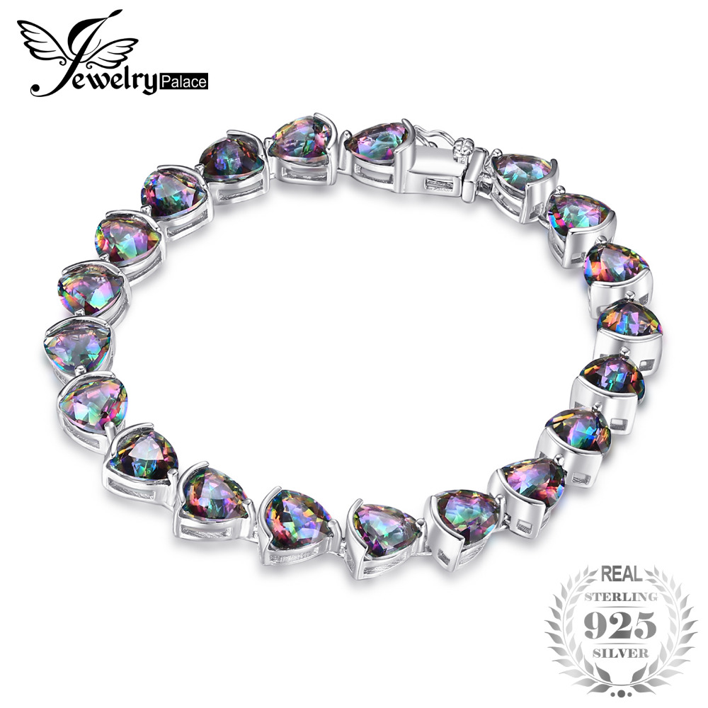JewelryPalace 26ct Triangle Stone Genuine Rainbow Fire Mystic Topaz Solid 925 Sterling Silver Tennis Bracelet Fashion Jewelry jewelrypalace 28ct natural fire rainbow mystic topaz bracelet tennis for women gift love pure 925 sterling silver fine jewelry