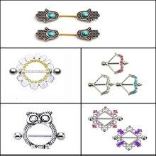 1 adet Ok, Baykuş, El ve benzeri Farklı Şekil Meme Halter Yüzük Kalkan Piercing göbek takısı