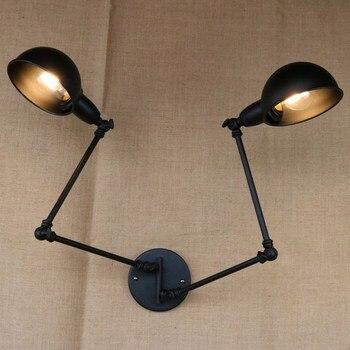 Классический дизайн и Роскошные Античный Черный Ретро двойной голова swing arm бра для мастерской кафе прикроватные спальня настенные светиль...