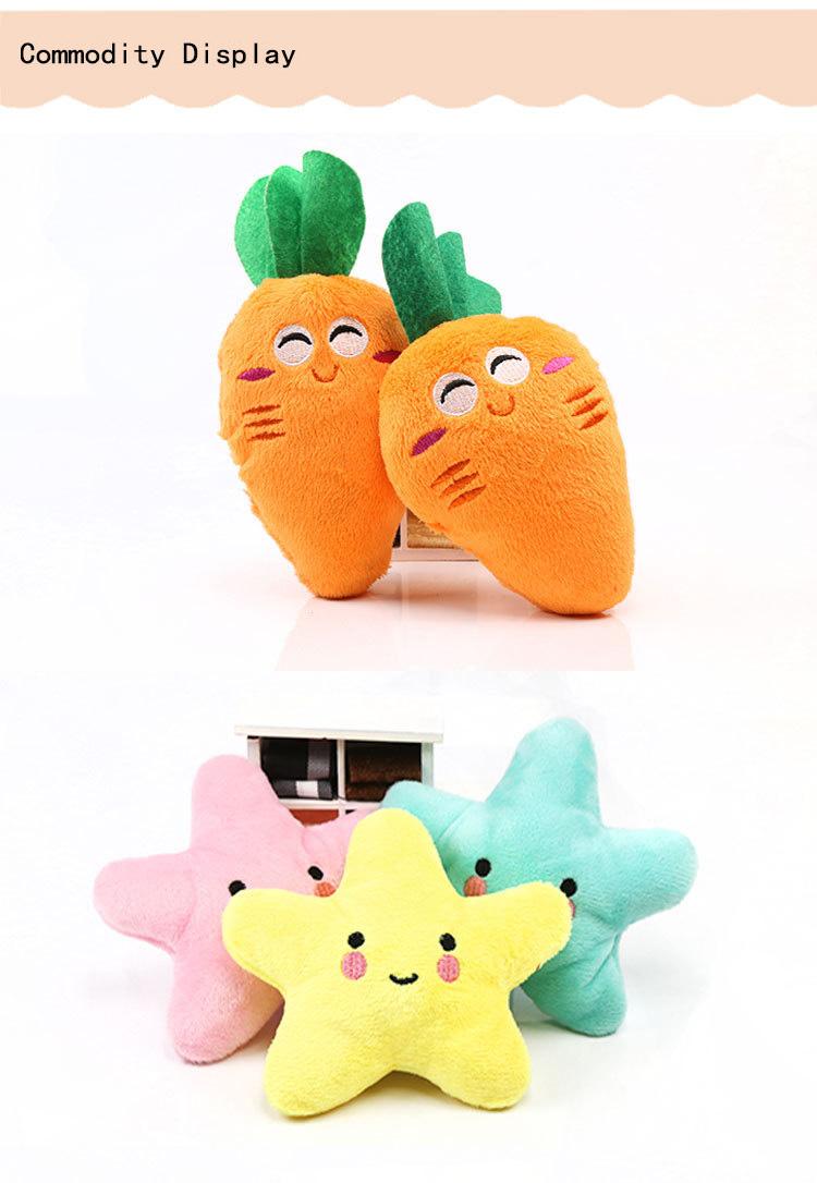 Coloridos juguetes chirrantes de frutas para mascota 3