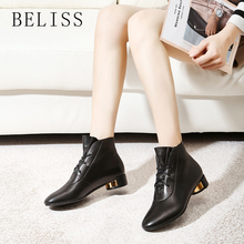 BELISS ankle boots for women metal round heel 2018 black spring autumn leather lace-up ladies thick B63