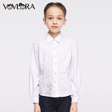 VOVLORA 2017 Baby Girls school blouses white modal shirt long sleeve Turn-down Collar hot sale blouse school clothes kids 6 7 8Y
