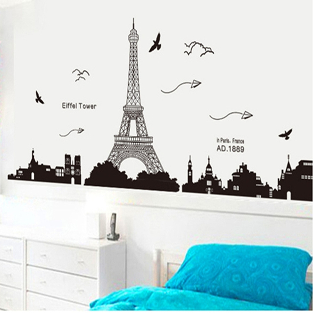 Black PVC Eiffel Tower Wall Stickers Wall Hangings Living Room Bedroom  Background Decoration Home Decor 185