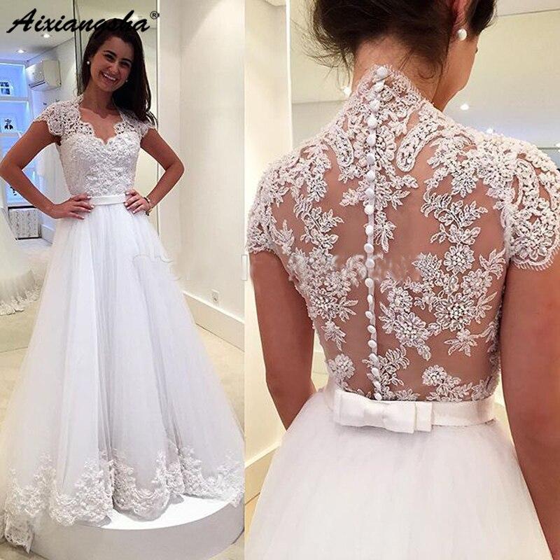 Sexy Wedding Dress 2019 Vestidos De Novia Lace A Line Vintage Bridal Gowns Custom Made Appliques Wedding Dress Vestido De Noiva