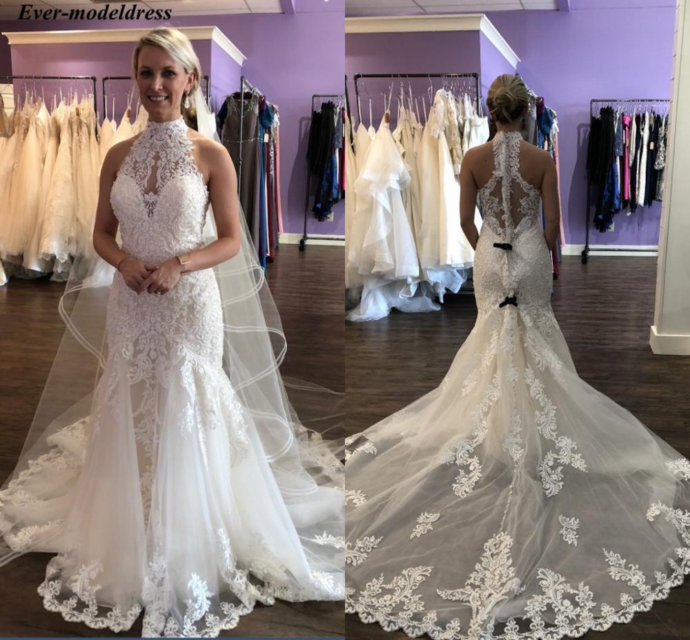 Elegant Wedding Dresses 2019 High Neck Lace Appliques Button Back Sweep Train Bridal Gowns Vestido De Noiva Plus Size Customize