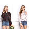 2017 Women Blouses Chiffon Cardigan Blusa Camisa Feminina Summer Tops Long Sleeve Turn Down Collar Chemise Femme Polka Dot