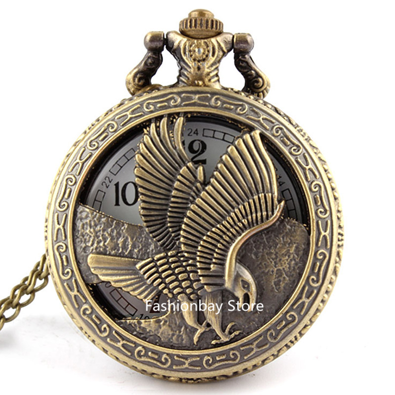 Vintage Retro Eagle Hawk Wing Bronze Quartz Pocket Watch Necklace Pendant Fob Chain Men Boy Unisex Gifts P125