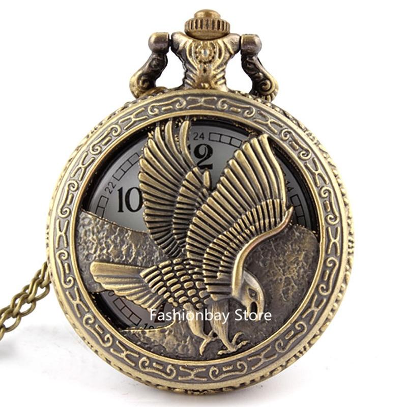 Vintage Retro Eagle Hawk Wing Bronze Quartz Pocket Watch Necklace Pendant Fob Chain Men Boy Unisex Gifts P125
