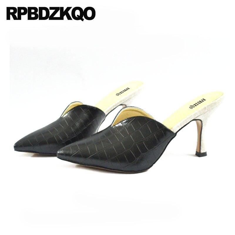 328dc68ac46fc2 Haute 2018 Pointu marron Femmes Bout Noir Grande Stiletto Star Mules black  Pompes De Crocodile 33 Chaussures Talons ...