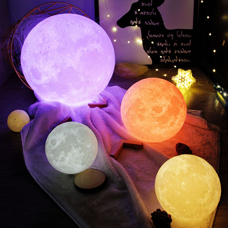 Moon Lamp 3D Printing Led Night Light Moonlight USB Rechargeable For Home Decoration @8 WWO66