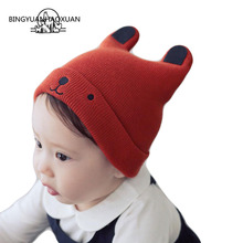 BINGYUANHAOXUAN Hat Kid Winter Caps Hats For Child Devil Horns Ear Cute Crochet Braided Knit Beanies Hat Warm Cap Homme Gorro все цены