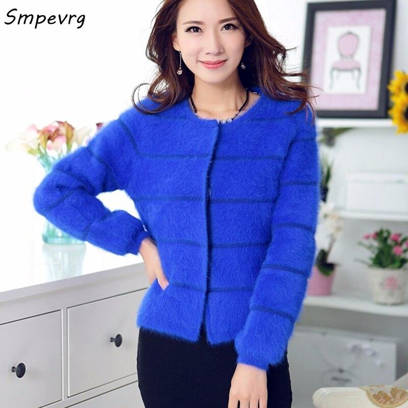 Smpevrg модные новые зимние женские короткие раздел норки кашемировое пальто кардиган свитер теплый толстый сплошной цвет о образным вырезом