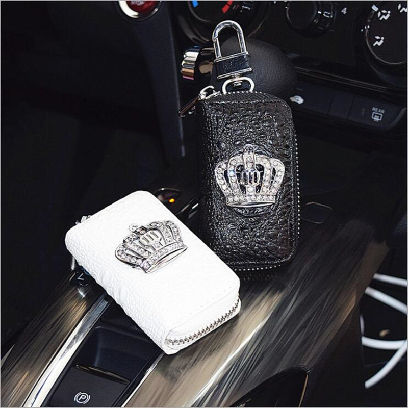 Crystal Crown Diamond Key Case for Car Key Cover Holder Genuine Leather Key Wallets Bag Fashion Women Rhinestone Housekeeper