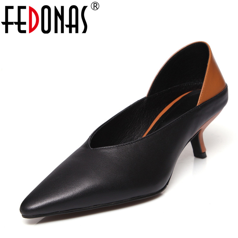 FEDONAS Sexy Women Pumps High Heels Shoes Woman Party Shoes Brand Pointed Toe Single Female Pumps Autumn Genuine Leather Shoes fedonas high quality women genuine leather shoes woman high heels sexy pointed toe silver gold wedding party shoes female pumps