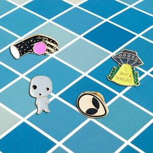 НЛО Alien Pin! Я хочу верить НЛО Alien Лацкан pin эмаль броши значки джинсовая кепка Смешные ювелирные изделия подарок для фанатов друг