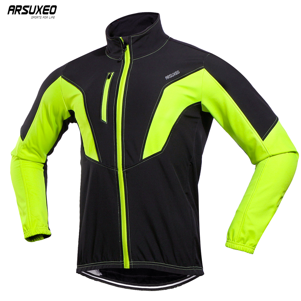 цена ARSUXEO 2018 Cycling Jacket Winter Thermal Warm Up Fleece MTB Bike Jacket Windproof Waterproof Cycling Coat 17N онлайн в 2017 году