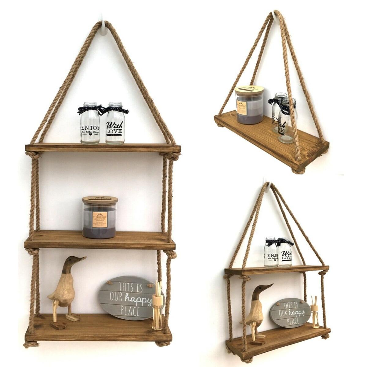 1/2/3 Tier Nordic Style Wooden Bead Tassels Storage Rack Wall Rope Hanging Shelf Decor Of Bedroom Living Room Kitchen Office New|Storage Holders & Racks| |  - title=