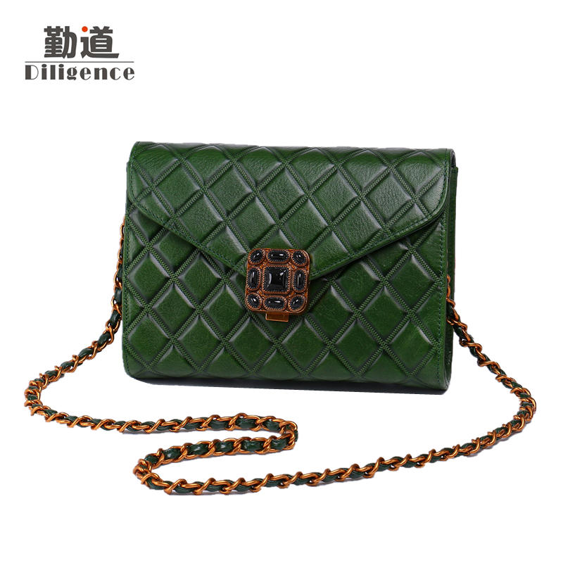Vintage Chains Genuine Leather Shoulder Bags For Women Fashion Famous Luxury Brands Designer Style Crossbody Messenger Mini Bag vintage women bag high quality crossbody bags luxury designer large messenger bags famous brands female shoulder bag tassen flap