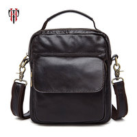 TIANHOO Genuine Leather bags mani on pocket men\x27s crossbody bag handbag cell phone pocket briefcase schoolbag