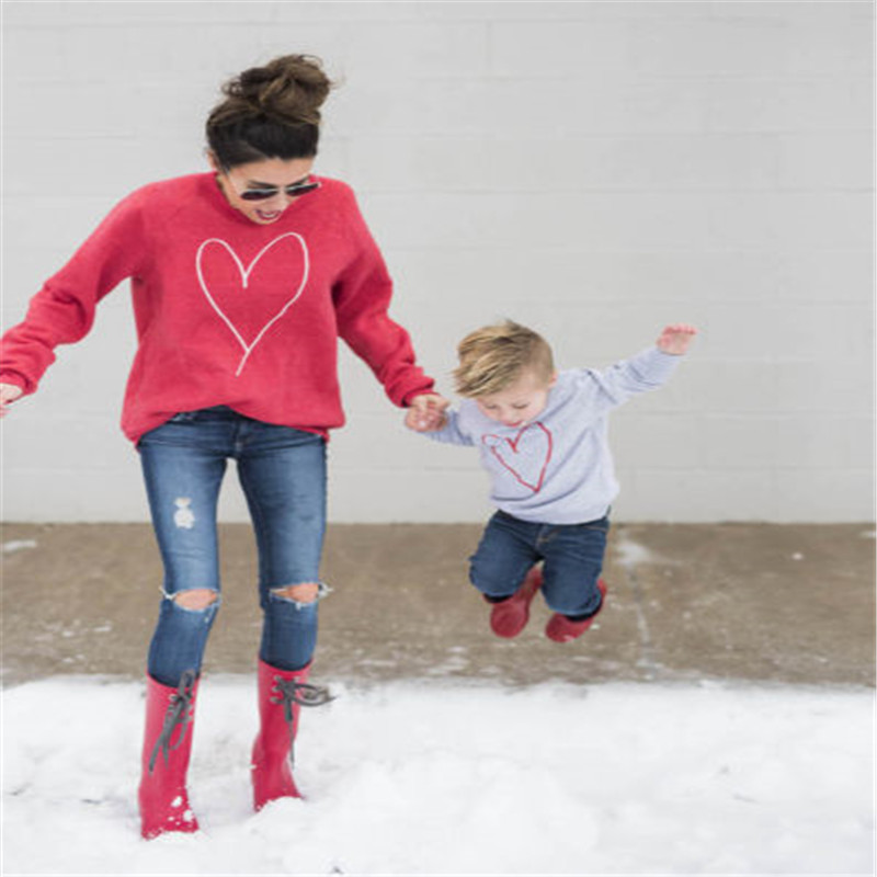 Hot sell Family Clothes Women Mother Baby Boy Kid Clothes Cute Lovely Heart Long Sleeve Tops Shirt Sweats Sweatshirt