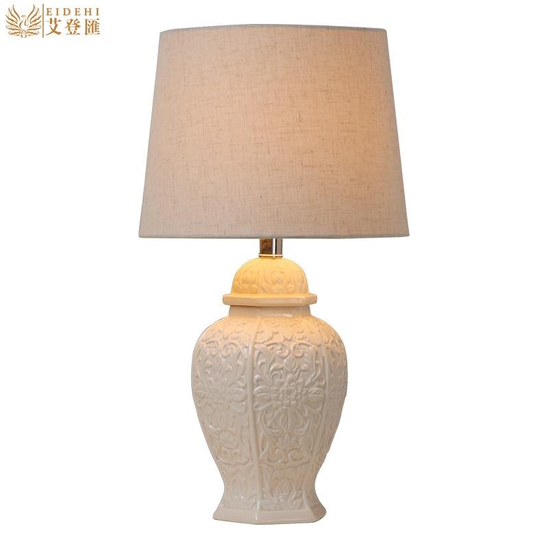 Europe Brief White Ceramic Fabric Led E27 Table Lamp for Wedding Decor Living Room Bedroom Restaurant 1455
