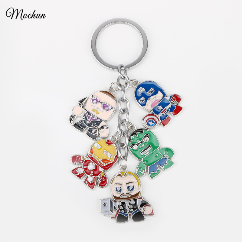 MQCHUN The Avengers Keychain Marvel Superhero Character Captain America Thor Hulk Iron Man Metal Figures Car Key Chains Rings the avengers captain america keychain superhero star shield pendant keyring car key chain accessories batman marvel key chains