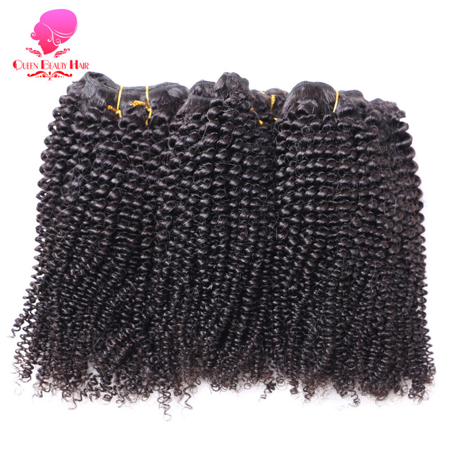 QUEEN BEAUTY 1PC Brazilian Afro Kinky Curly Hair Bundles Remy Human Hair Weave Natural Color 10 inch To 26 inch Free Shipping