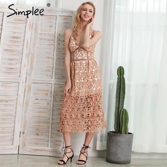 Simplee Padded hollow out lace dress Lined summer dress women Backless sexy dress Deep V zipper party sundress vestido de festa