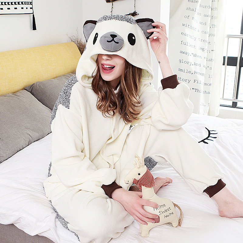 JINUO Adults Pijama Hedgehog Herisson Women Animal Pajamas Cosplay Unisex Pyjamas Sleepwear Costume