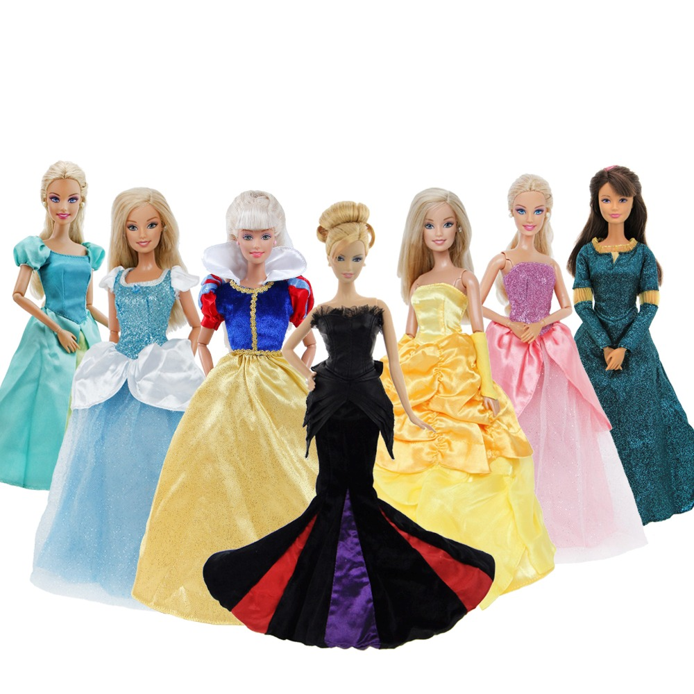 Limited Collection Dress For Barbie Doll Clothes Fairy Tale Gown Copy Bella Cinderella Mermaid Princess Skirt Accessories Toys