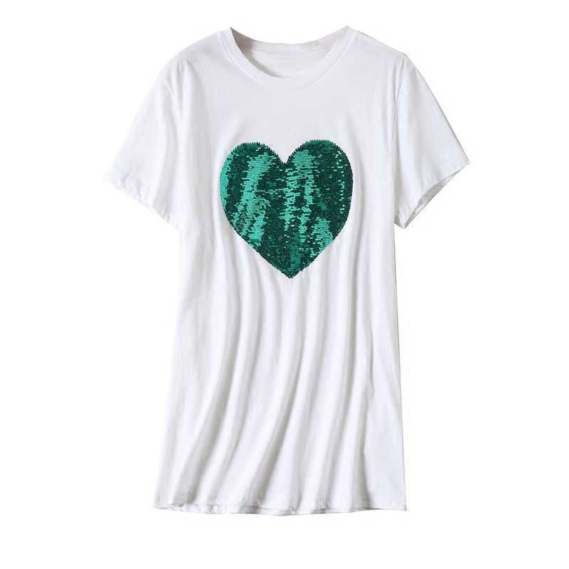 6394ff86b967 ... Green Sequins Heart shape Cotton T-Shirts Reversible O-Neck Beading  magical color changing ...