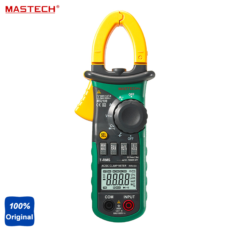 Mastech MS2108 Digital Clamp Meter True-rms Inrush Current 66mF Capacitance Frequency Measurement Carrying Bag stainless steel penis cock ring testicle ball scrotum stretcher bdsm bondage gear play male chastity devices sex toys