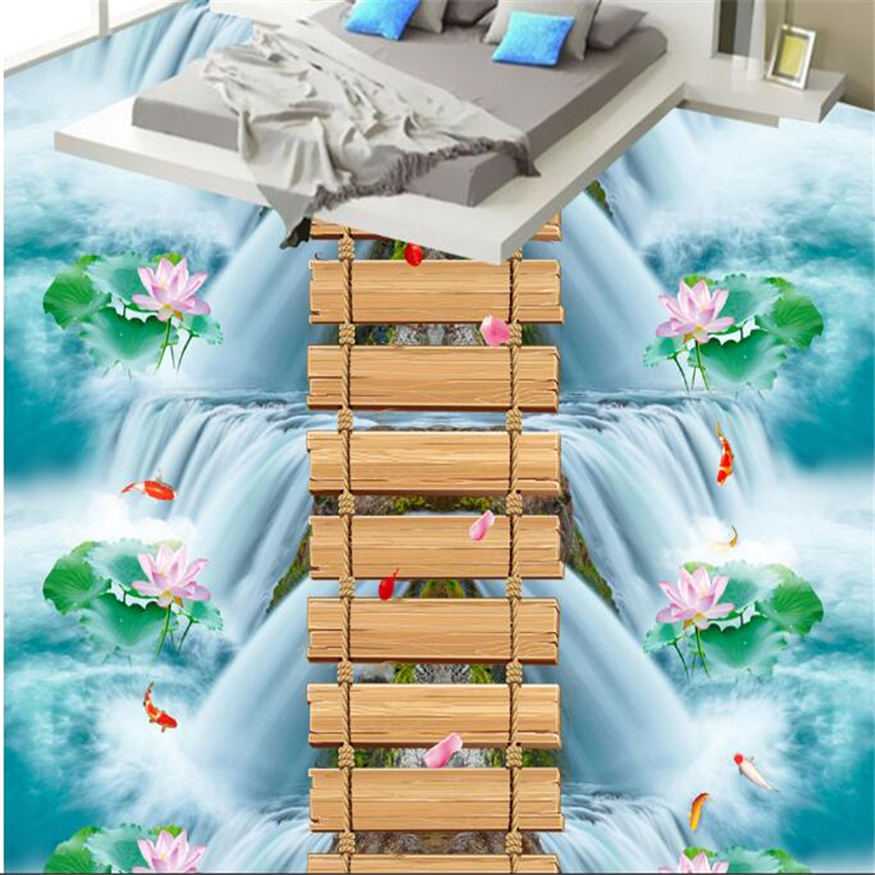 beibehang papel de parede Classic lotus bridge carp bathroom kitchen walkway waterproof self - adhesive wallpaper 3d flooringbeibehang papel de parede Classic lotus bridge carp bathroom kitchen walkway waterproof self - adhesive wallpaper 3d flooring