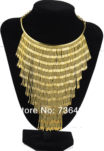 2016 Vintage fringe Necklace Gold Choker necklace Jewelr for women Free shipping
