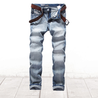 Nostalgia Retro Printed Jeans Men Casual Pants Italian Famous Brand Men S Jeans Light Blue Color