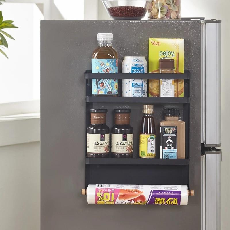 magnetic refrigerator side rack shelf multi layer kitchen sidewall holder kitchen supplies household multi layer fridge storage