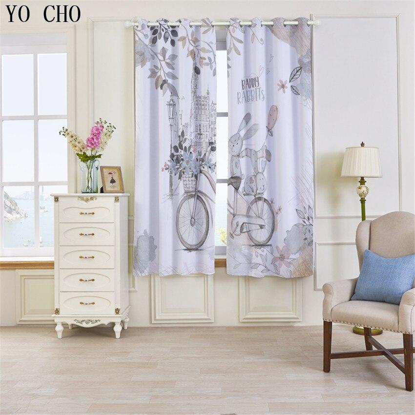 YO CHO Love rabbit print 3D curtains for children kinder gordijnen ...