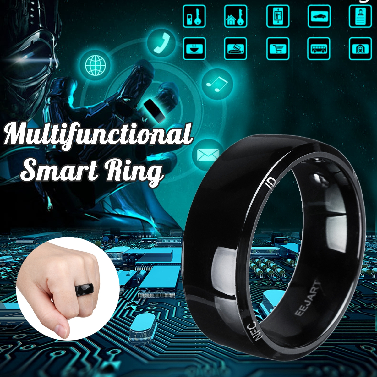 Waterproof Unlock Health Protection Smart Ring Wear New technology Magic Finger NFC Ring For Android Windows NFC Mobile PhoneWaterproof Unlock Health Protection Smart Ring Wear New technology Magic Finger NFC Ring For Android Windows NFC Mobile Phone
