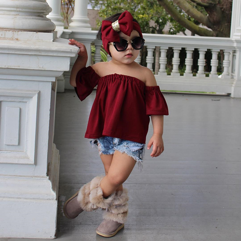 Off the shoulder tops + Jeans shorts + Headband set / Christmas wine color