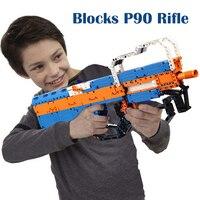 Building Blocks P90 Assualt Rifle Gun Legoed Compatible Military Bricks Weapon Set Can Fire Rubber Band Toy for Children Boys