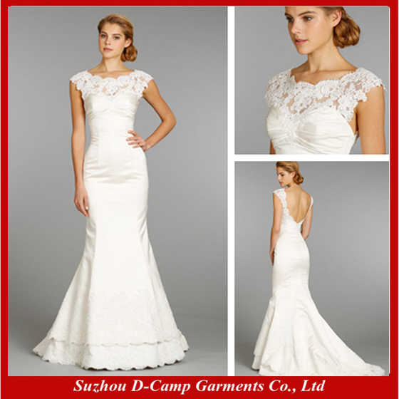 Online Shop Free Shipping WD 1943 Cap Sleeves Low Back Wedding Dress Simple But Elegant France