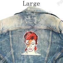 """5.6 """"David Bowie Grote Terug Patches Voor Jeans Jas Kunstenaar Geborduurde Ijzer Op Badge Art Engels Singer Songwriter Acteur"""