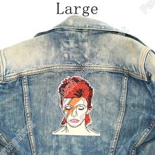 """5.6"""" David Bowie Large Back Patches for jeans jacket artist Embroidered Iron On badge art English singer songwriter actor"""