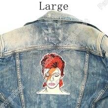 "5.6 ""david bowie grandes remendos de volta para jeans jaqueta artista bordado ferro no emblema arte cantor inglês compositor ator"