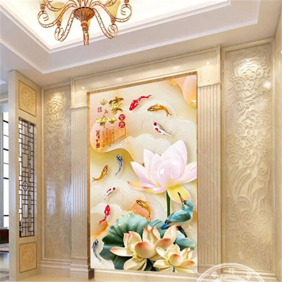Wellyu papéis de parede personalizados 3d frefrefrefreafrescos e ricos estéreo lótus nove peixes gráfico alívio jade escultura tv fundo papel de parede